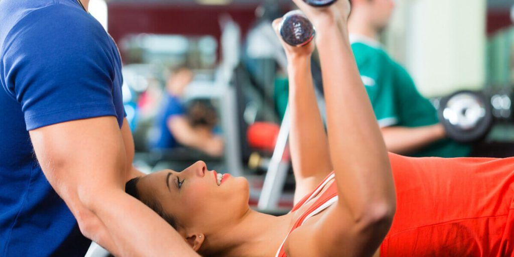 Dumbbell lifting by women